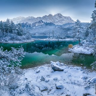 der erste Schnee am Eibsee